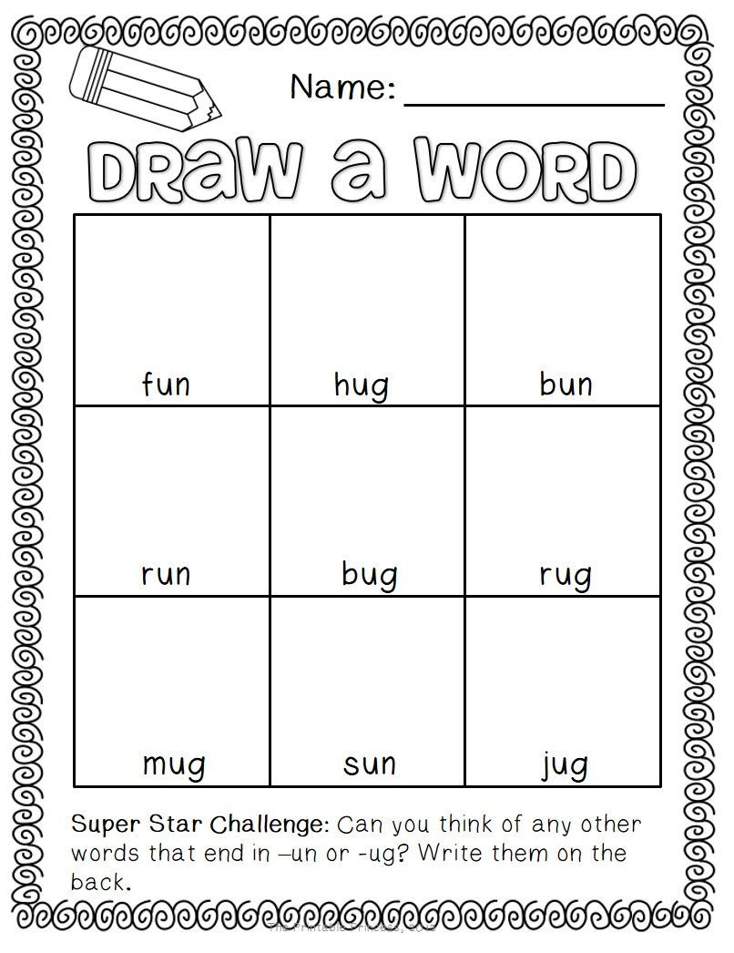 Short Vowel Worksheets 2nd Grade Draw A Word Short Vowel Word Family Edition