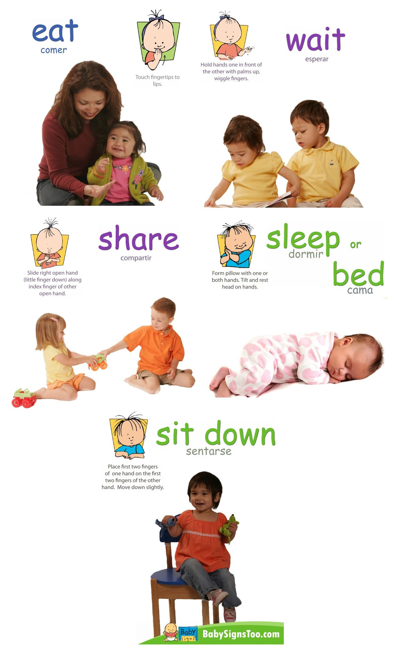 Sign Language Poster Printable Baby Signs Action Signs Poster Pack
