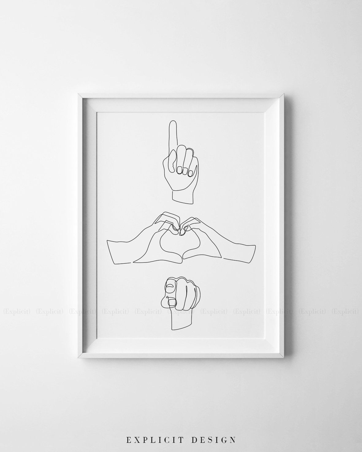 Sign Language Poster Printable I Love You Gesture Printable E Line Drawing Print Sign
