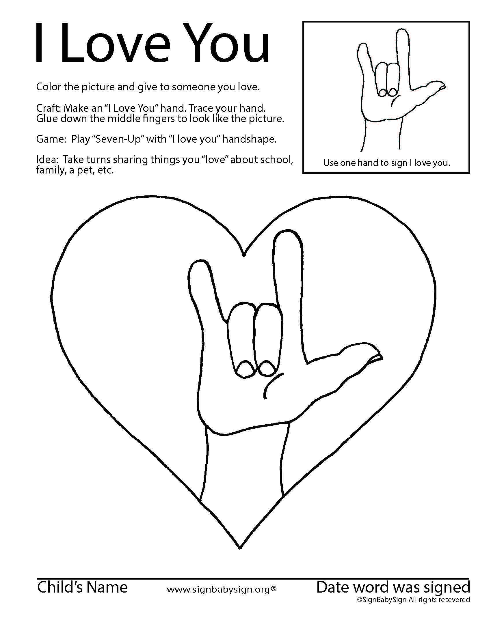 Sign Language Printable Worksheets asl Coloring & Activity Sheet for Preschool and Elementary
