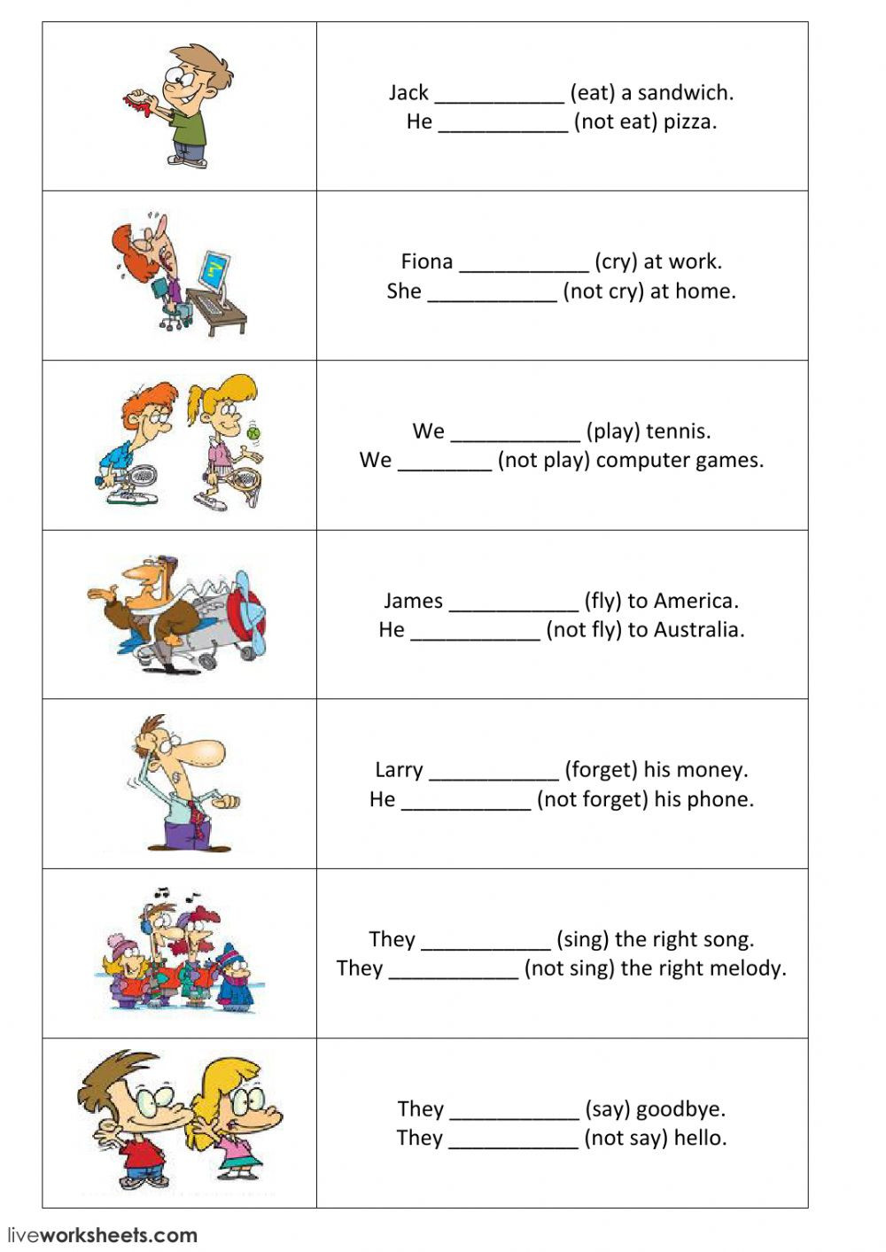 Simple Sentences Worksheet 3rd Grade Present Simple Positive and Negative Sentences Part 1