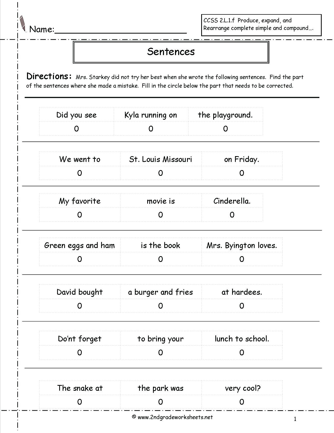 Simple Sentences Worksheet 3rd Grade Types Sentences Worksheets to Download Types Of