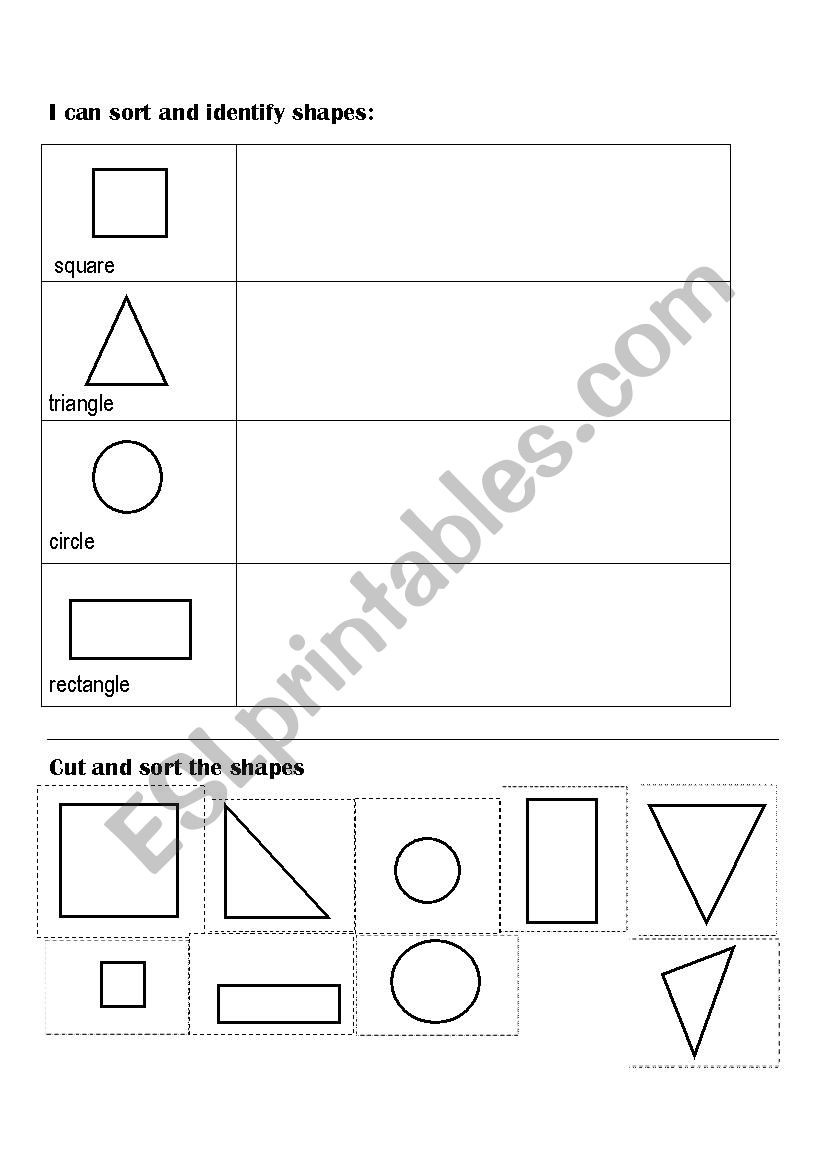 Sorting Shapes Worksheets First Grade sort and Classify Shapes Cut and Paste Esl Worksheet by