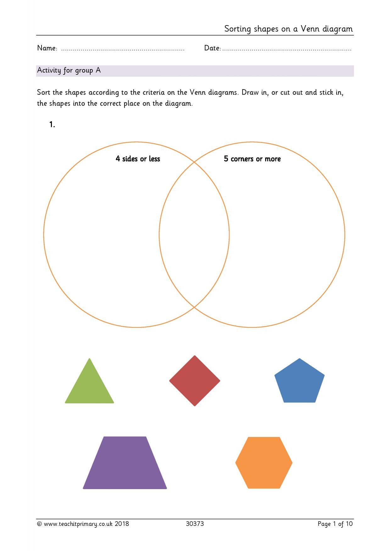 Sorting Shapes Worksheets First Grade sorting Shapes On A Venn Diagram