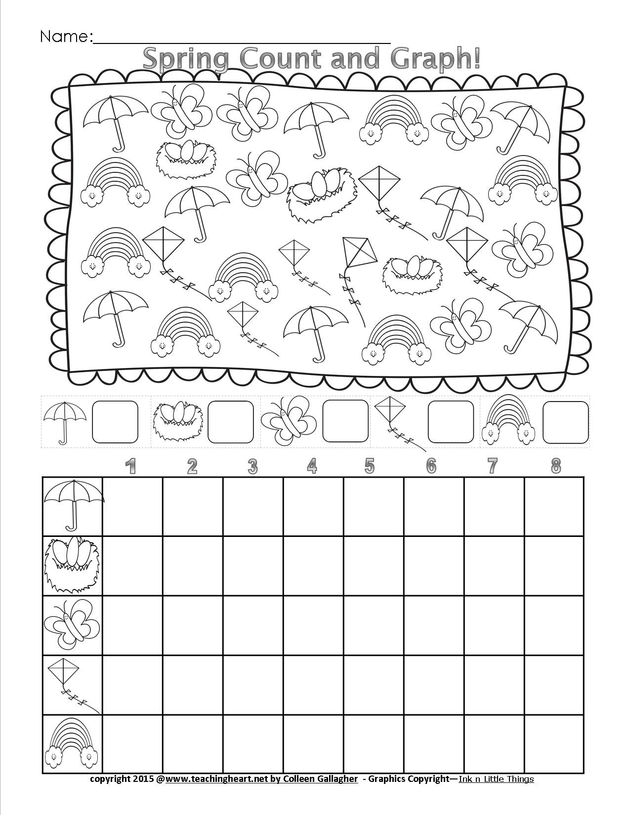 Sorting Shapes Worksheets First Grade Spring Count and Graph Free Teaching Heart Blog Graphing