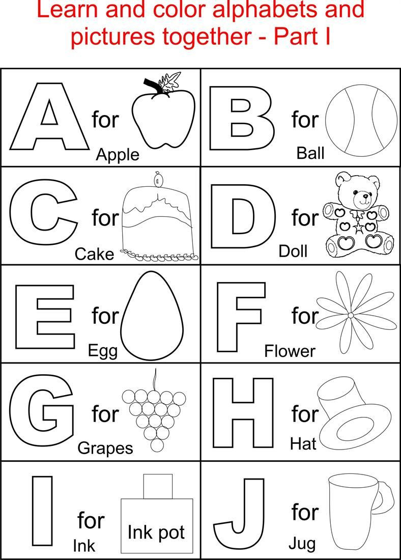 Spanish Alphabet Chart Printable Alphabet Part I Coloring Printable Page for Kids Alphabets
