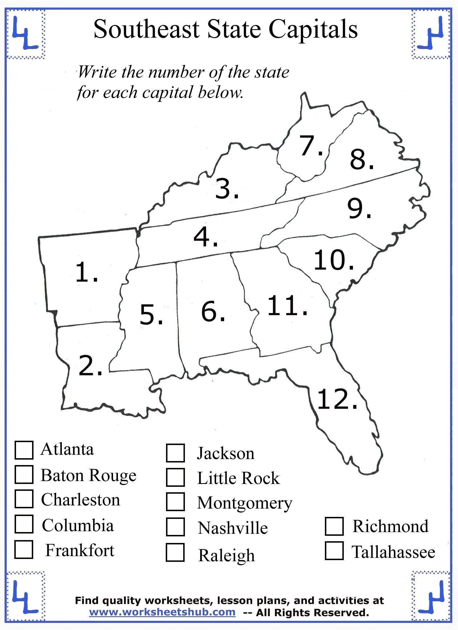 State Capitals Printable Quiz 4th Grade social Stu S southeast Region States