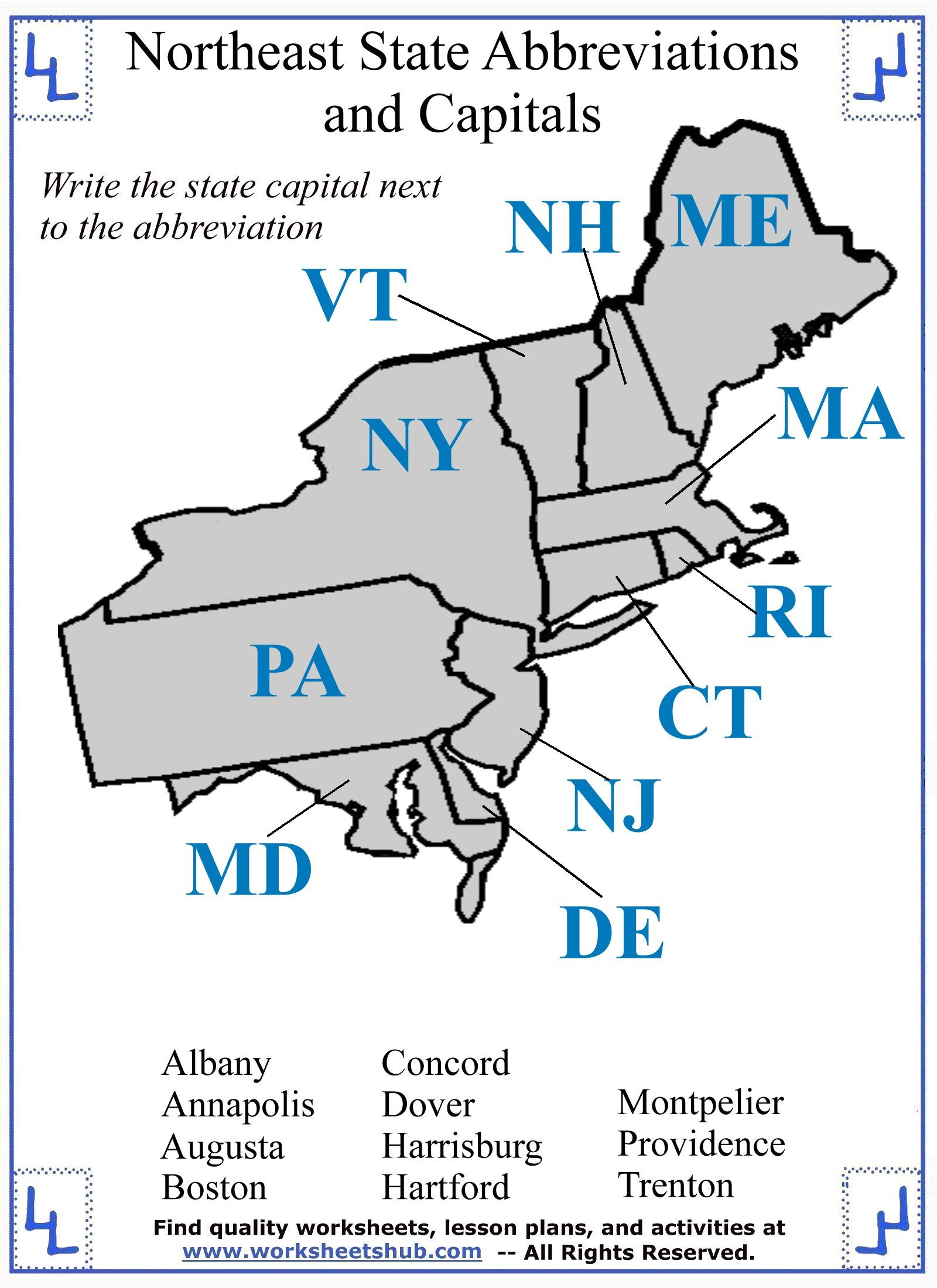 State Capitals Quiz Printable Fourth Grade social Stu S northeast Region States and