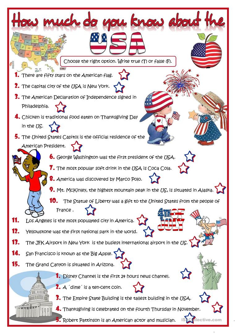 State Quiz Printable How Much Do You Know About the Usa Quiz English Esl