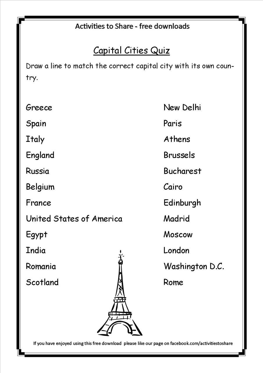State Quiz Printable Picture Of Dl34 Capital Cities Quiz