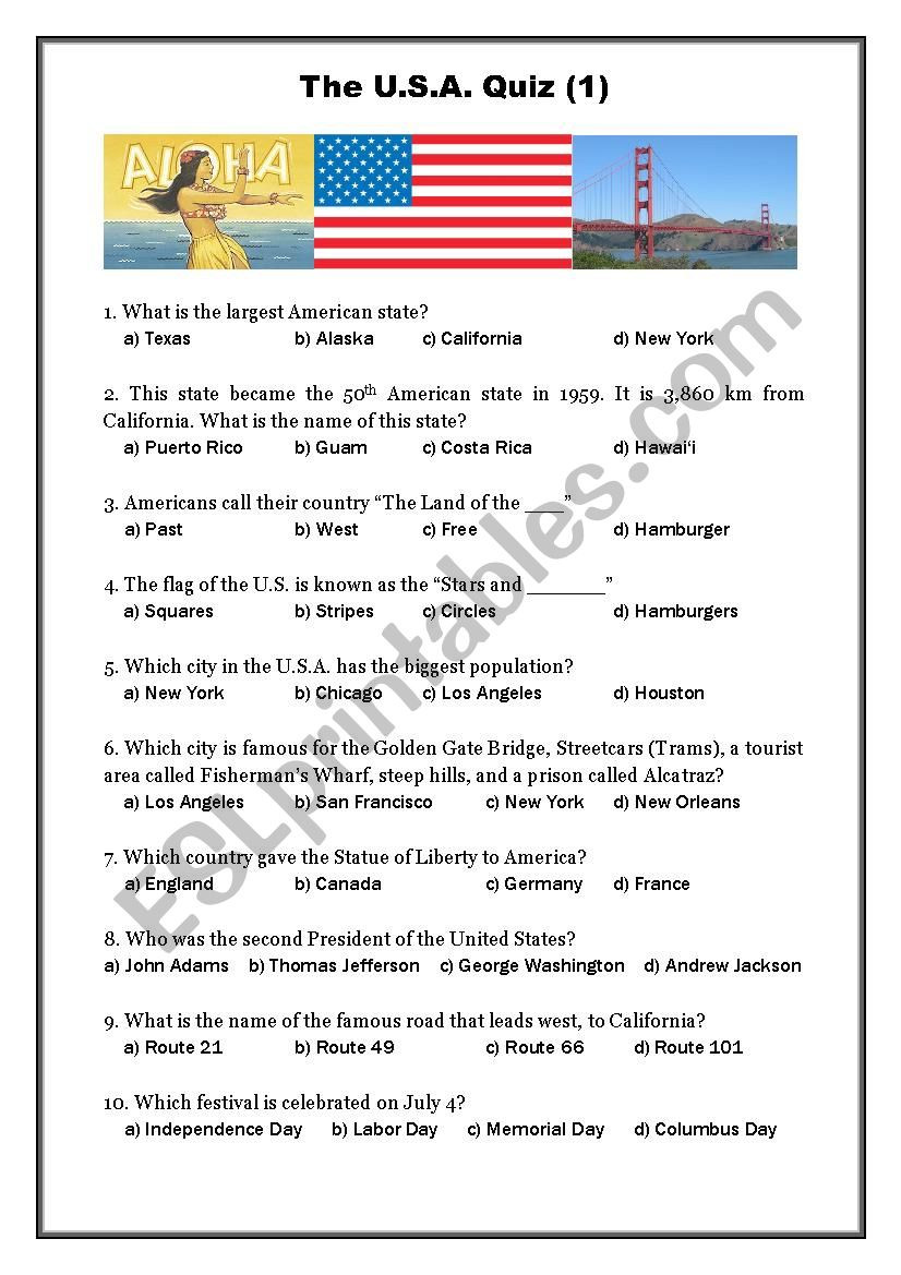 State Quiz Printable Usa Quiz 1 Esl Worksheet by Oligol