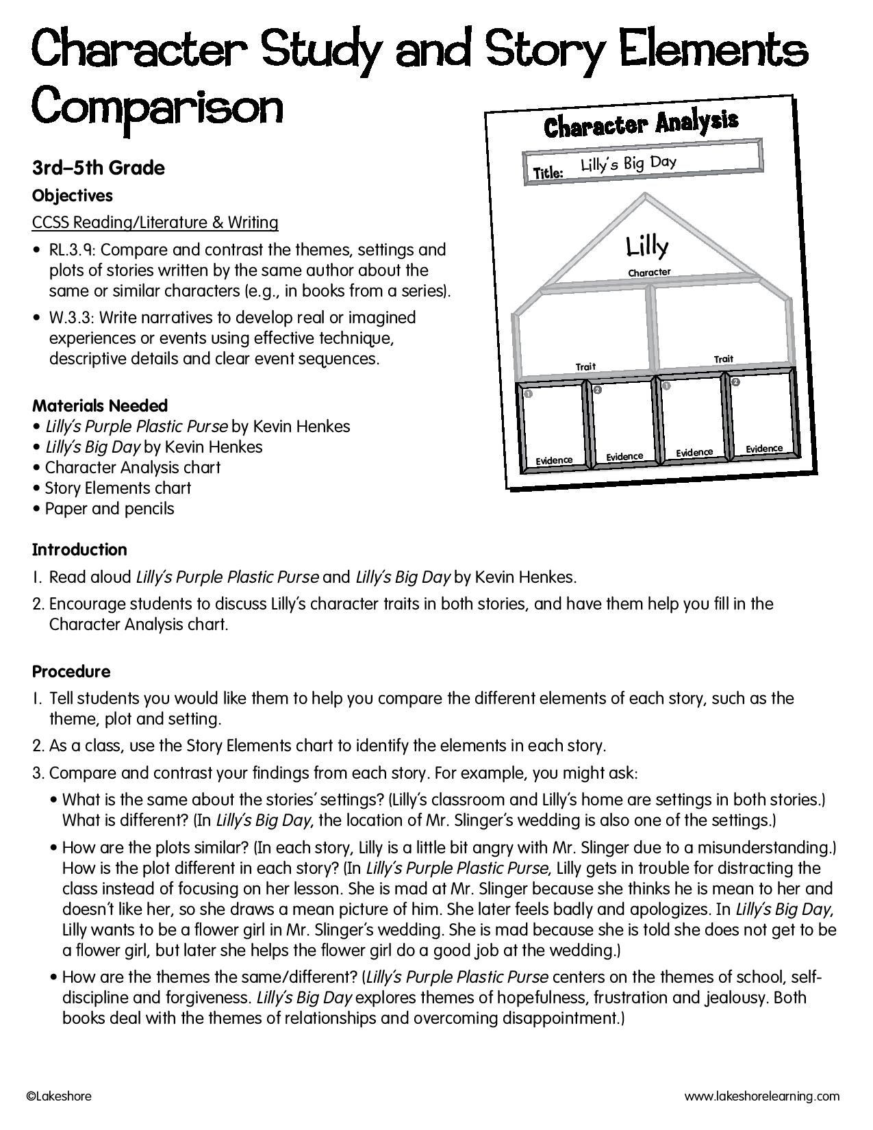 Story Elements Worksheet 5th Grade Character Study and Story Elements Parison Lessonplan