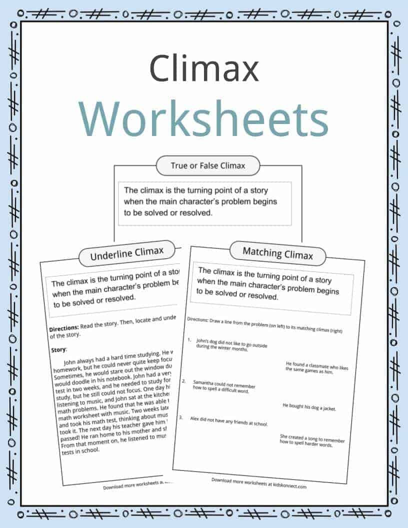 Story Elements Worksheet 5th Grade Climax Definition Worksheets & Examples In Text for Kids
