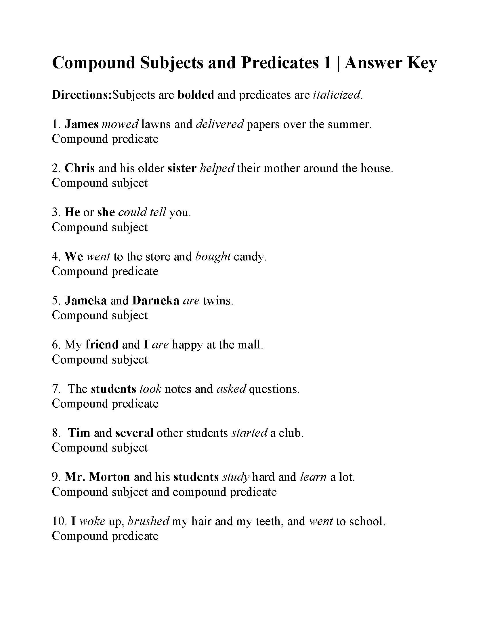 Subject Predicate Worksheet 6th Grade Pound Subjects and Predicates Worksheet