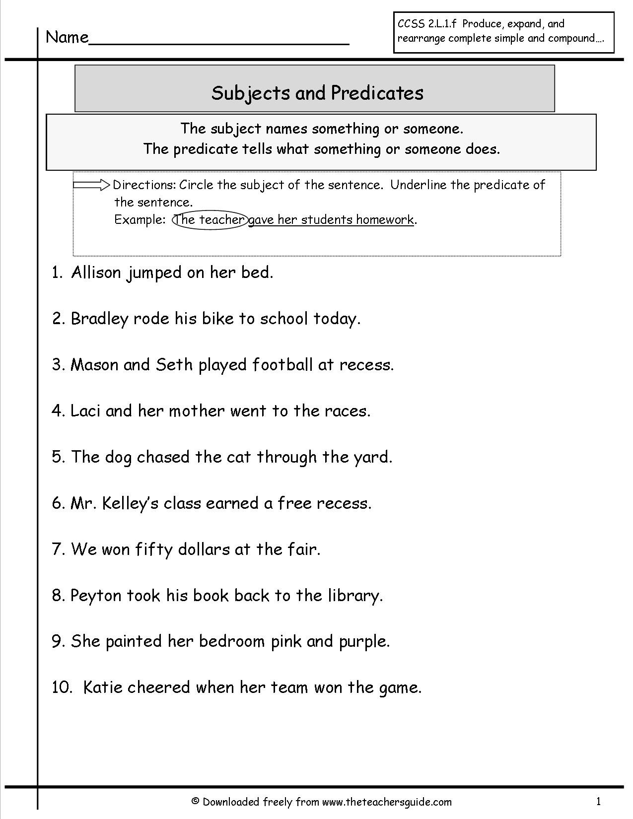 Subject Predicate Worksheet 6th Grade Second Grade Subject and Predicate Worksheet