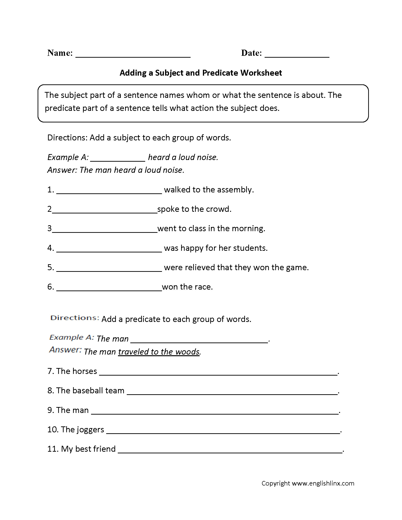 Subject Predicate Worksheet 6th Grade Subject and Predicate Worksheets Middle School