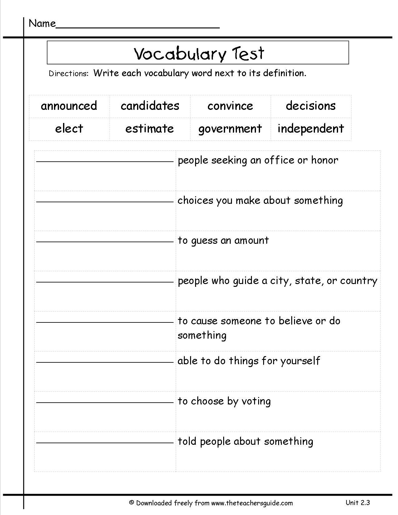 Subject Worksheets 3rd Grade 3rd Grade Vocabulary Worksheets for Free Preschool Worksheet