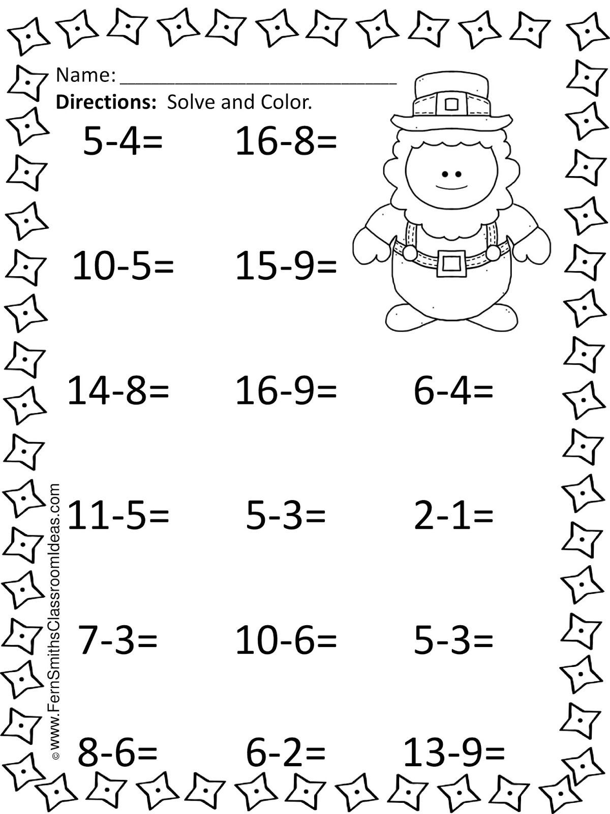 Subtraction Worksheets 1st Grade St Patrick S Day Mixed Subtraction Task Cards and