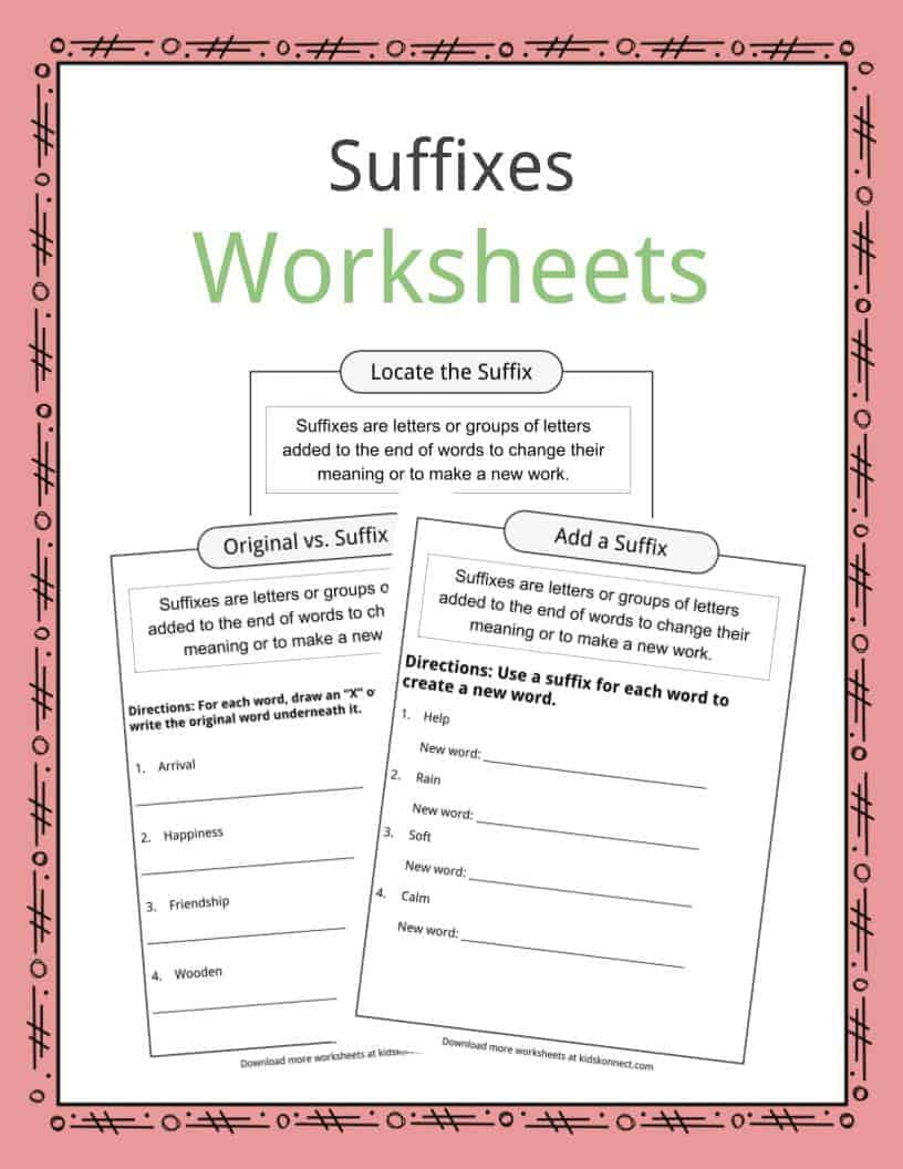 Suffixes Worksheets for 3rd Grade Suffixes Worksheets Examples & Definition for Kids