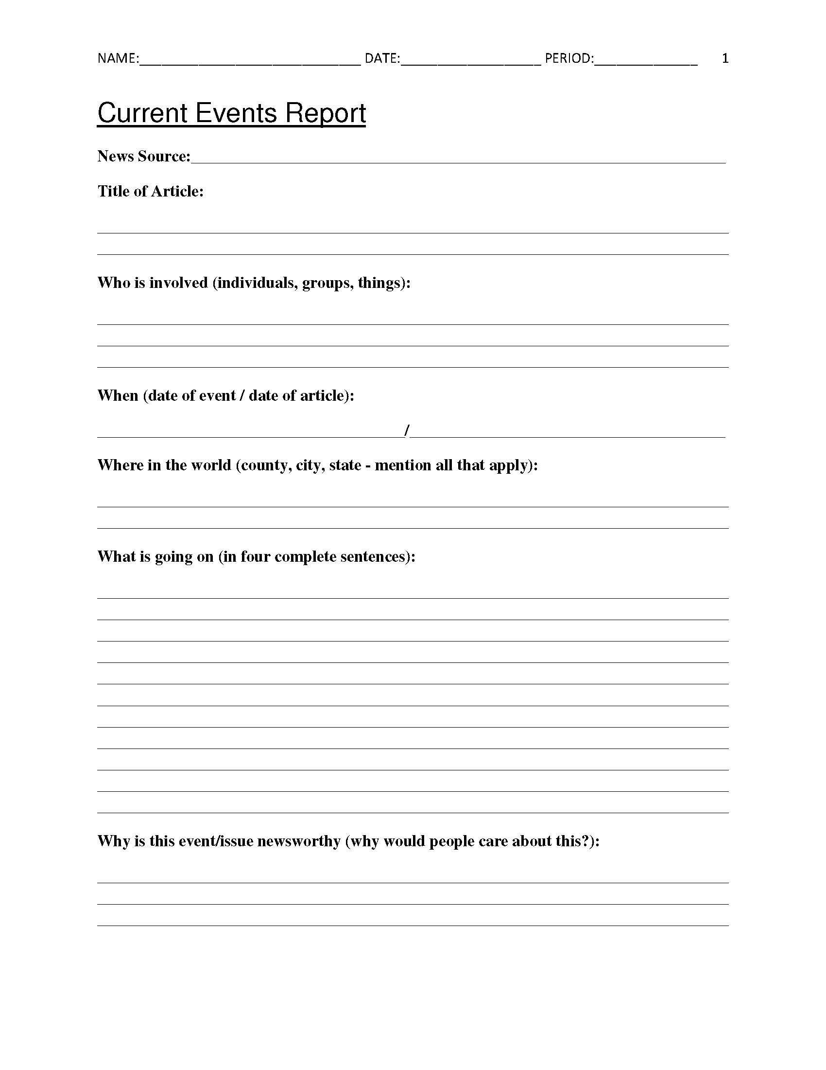 Summary Worksheets Middle School Free Current events Report Worksheet for Classroom Teachers