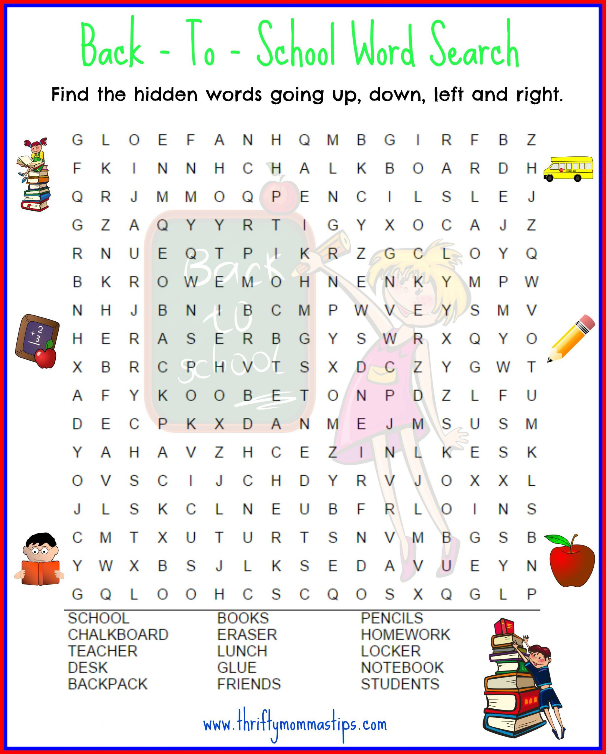 Superhero Word Search Printable Back to School Word Search