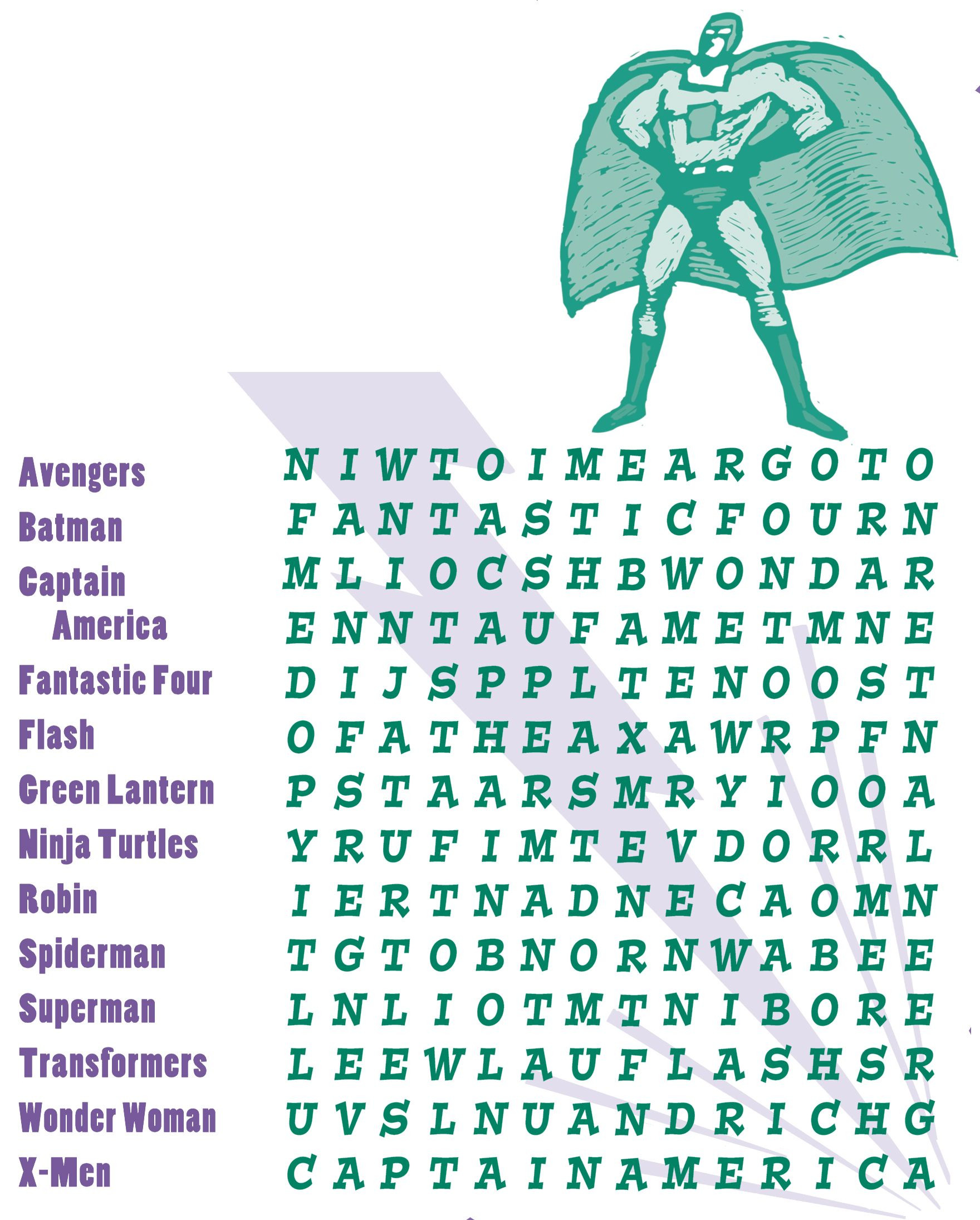 Superhero Word Search Printable Superhero Word Search