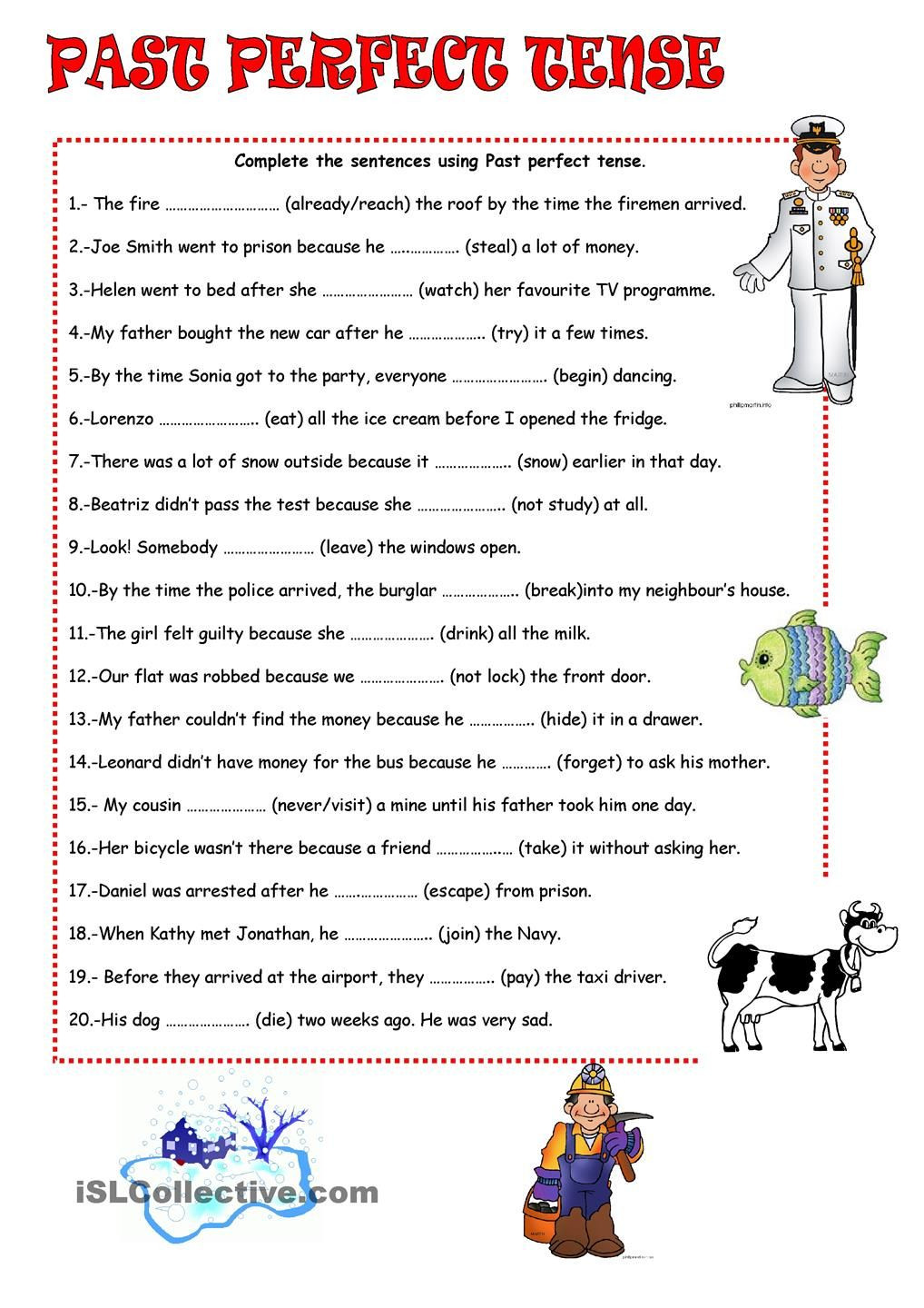 Tenses Worksheets for Grade 5 Past Perfect Tense