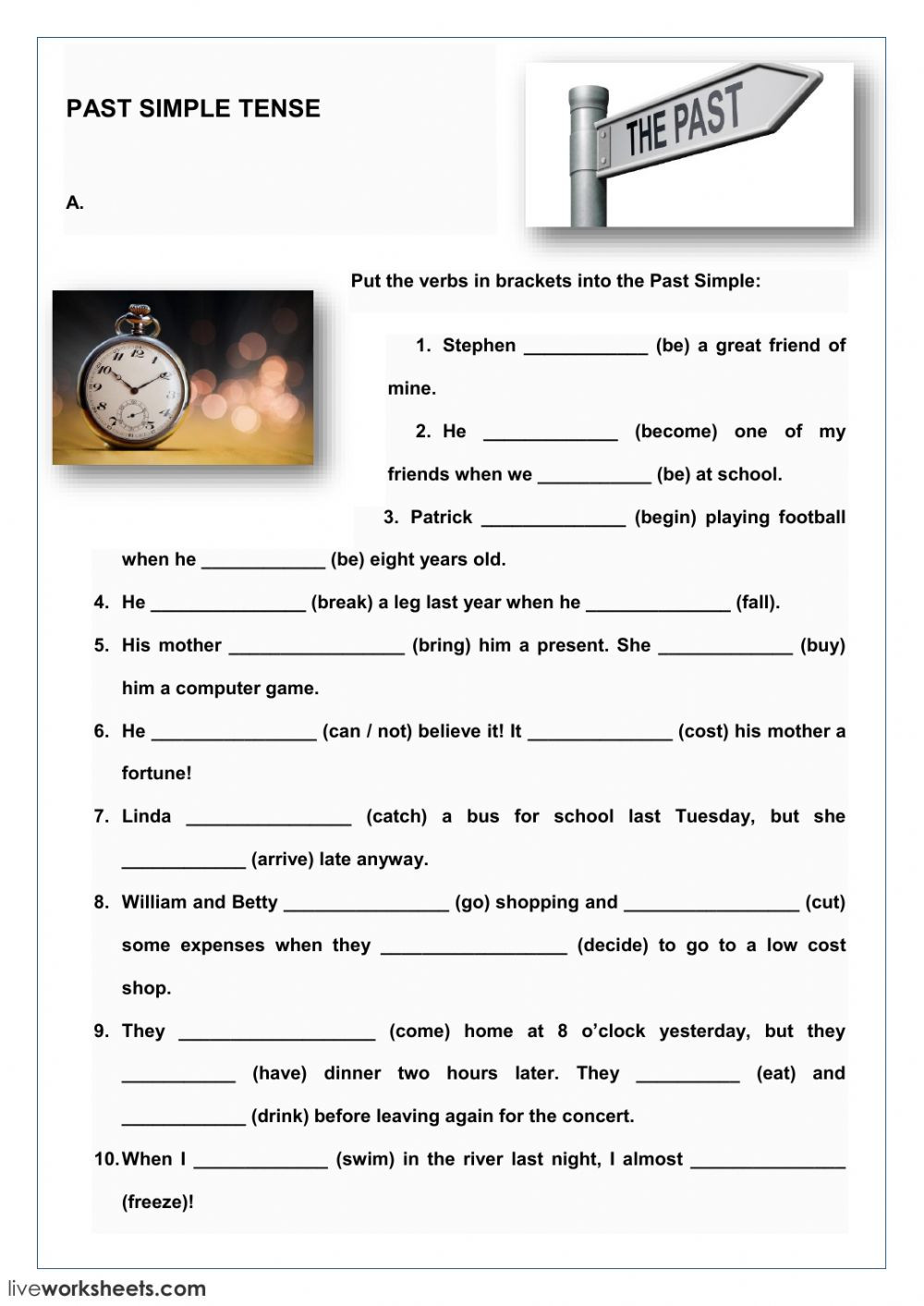 Tenses Worksheets for Grade 5 Past Simple Tense Interactive Worksheet