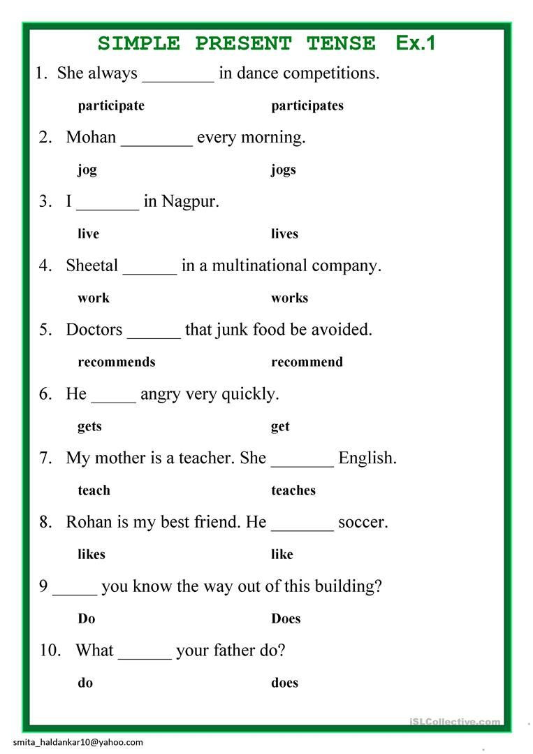 Tenses Worksheets for Grade 5 Present Simple Tense English Esl Worksheets for Distance
