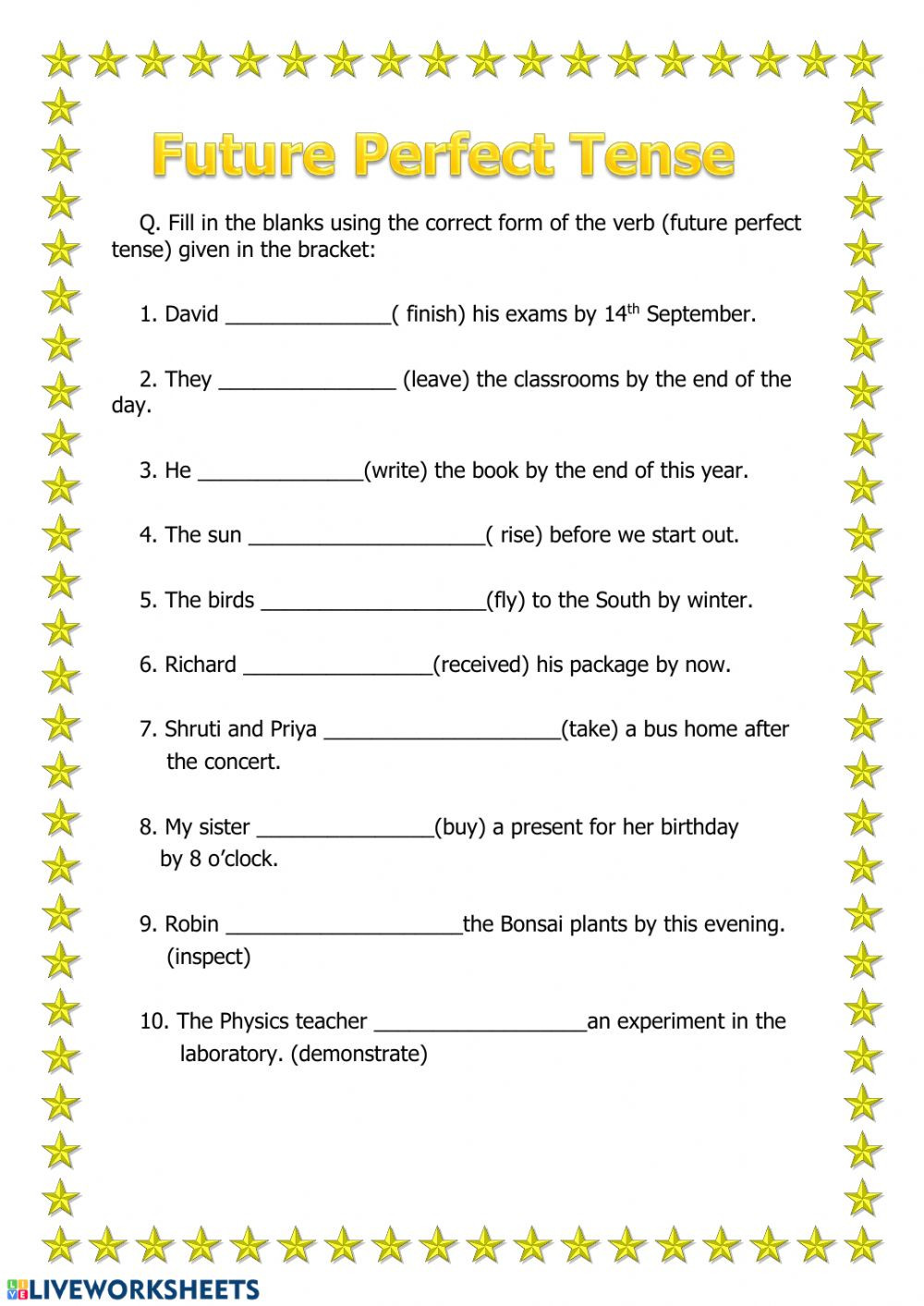 Tenses Worksheets for Grade 6 Future Perfect Tense Interactive Worksheet
