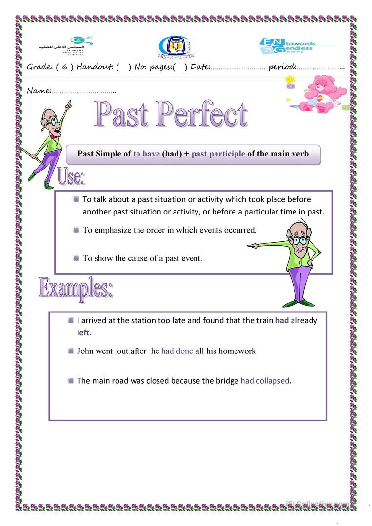 Tenses Worksheets for Grade 6 Past Perfect Tense English Esl Worksheets for Distance