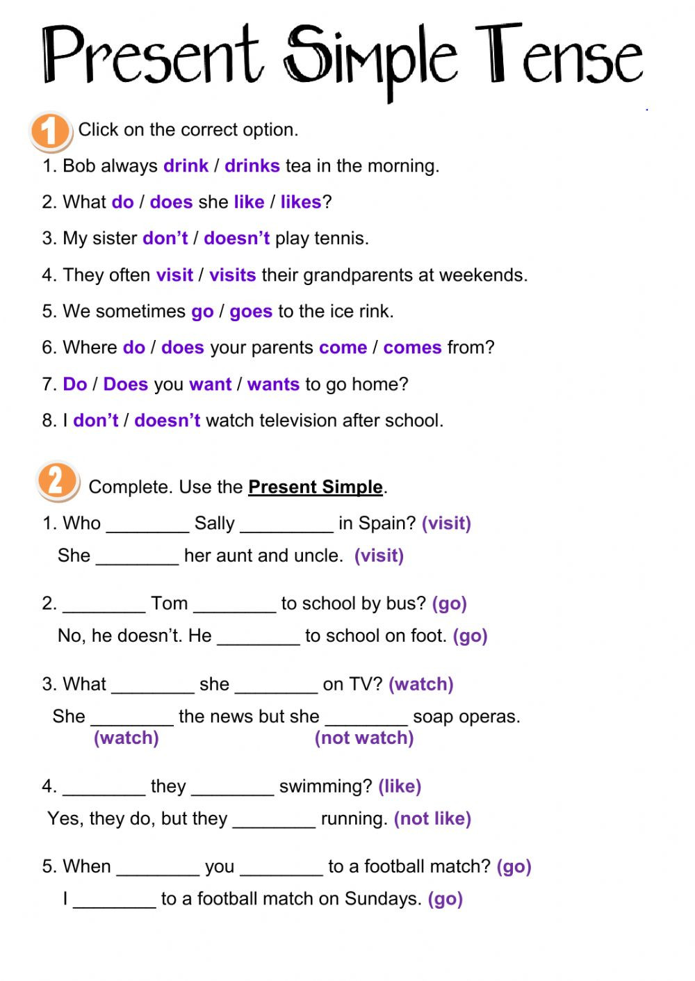 Tenses Worksheets for Grade 6 Present Simple Tense Interactive Worksheet