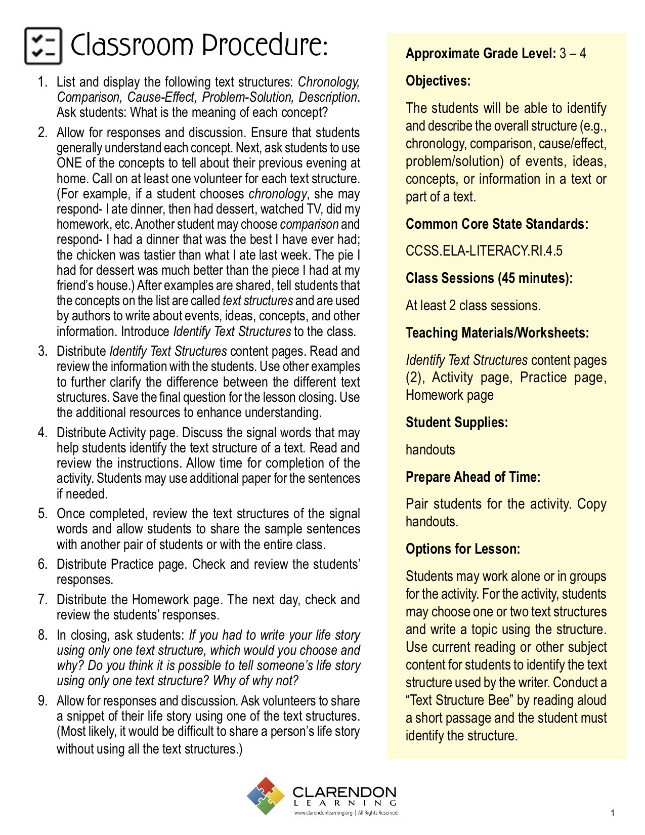 Text Structure 4th Grade Worksheets Identify Text Structures Lesson Plan