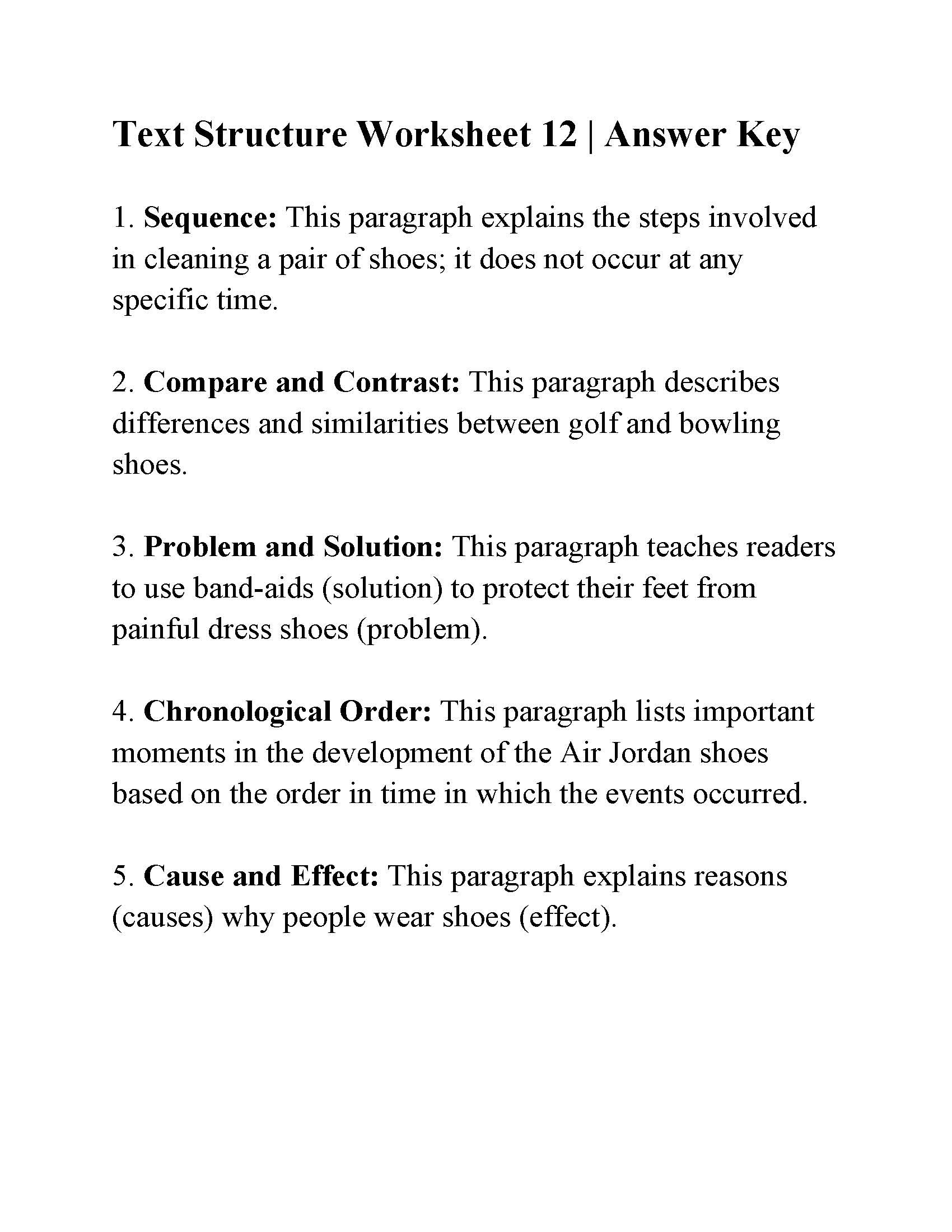 Text Structure 4th Grade Worksheets Text Structure Worksheet 12