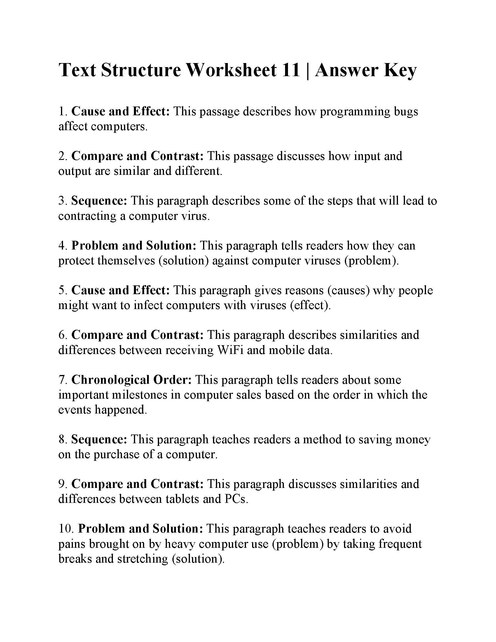 Text Structure 4th Grade Worksheets Text Structure Worksheet Answers Worksheets for Play Group