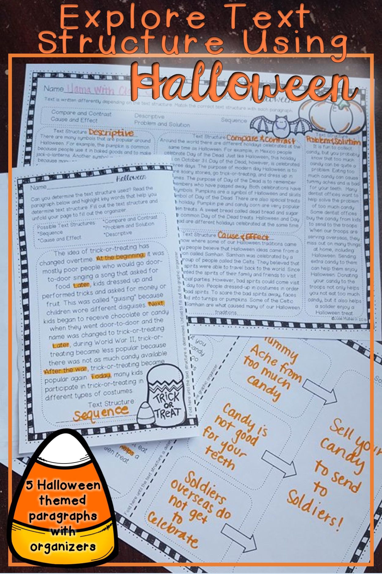 Text Structure 5th Grade Worksheets Halloween Text Structure Worksheets