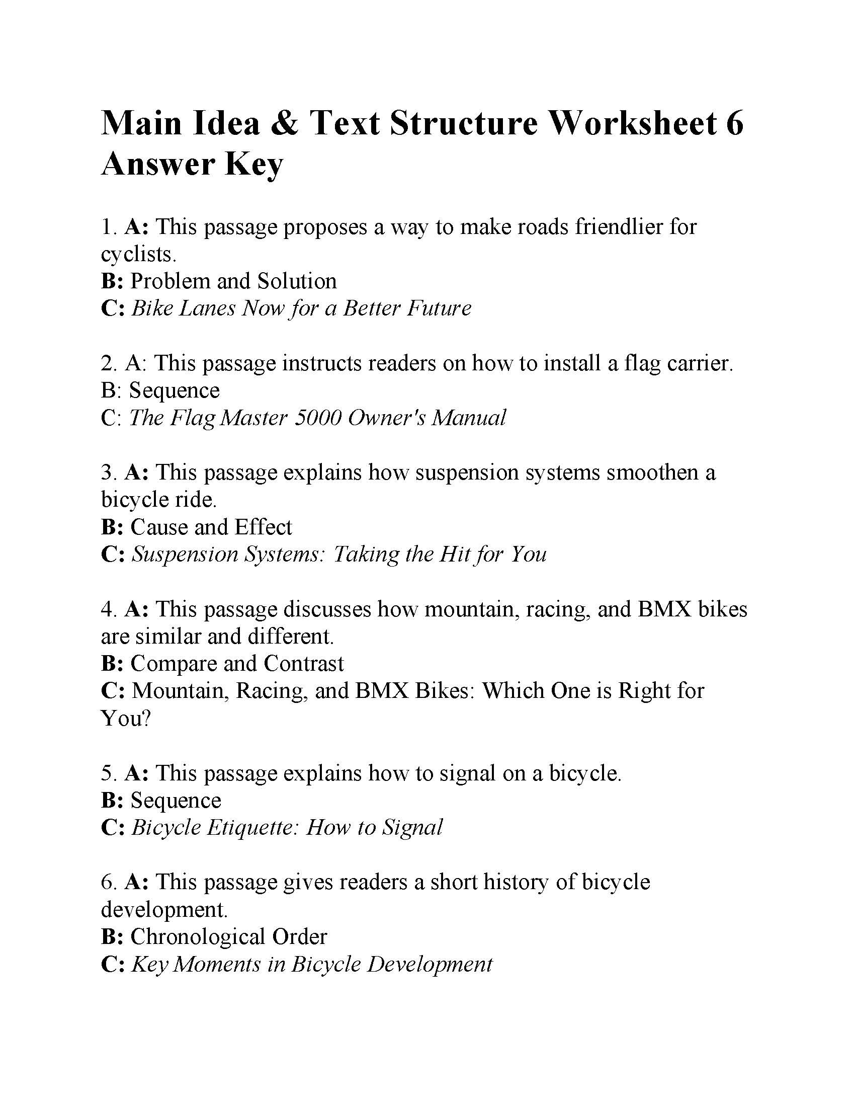 Text Structure 5th Grade Worksheets Main Idea and Text Structure Worksheet Answers Ereading
