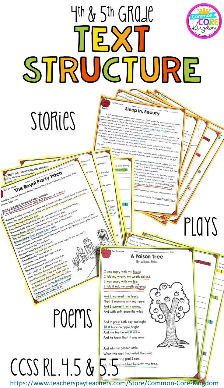 Text Structure 5th Grade Worksheets Text Structure In Stories Poems & Plays 4th & 5th Grade