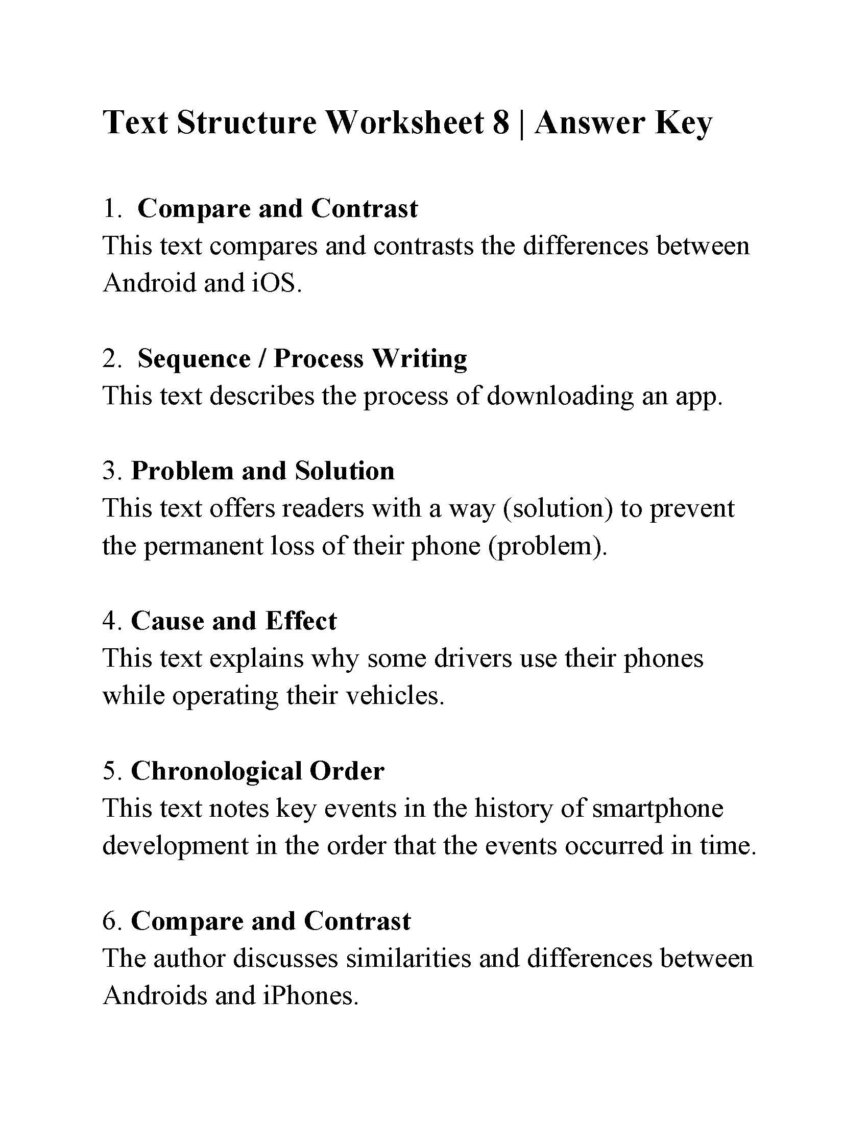 Text Structure 5th Grade Worksheets Text Structure Worksheet Answers Ereading Worksheets Year