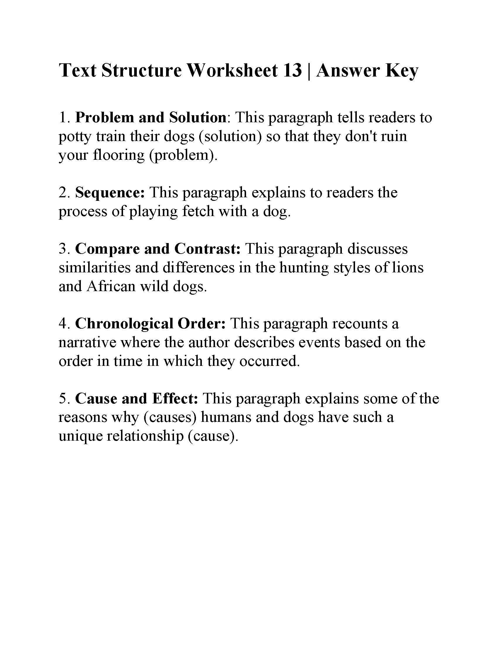 Text Structure 5th Grade Worksheets Text Structure Worksheet Answers Worksheets Matematik Games