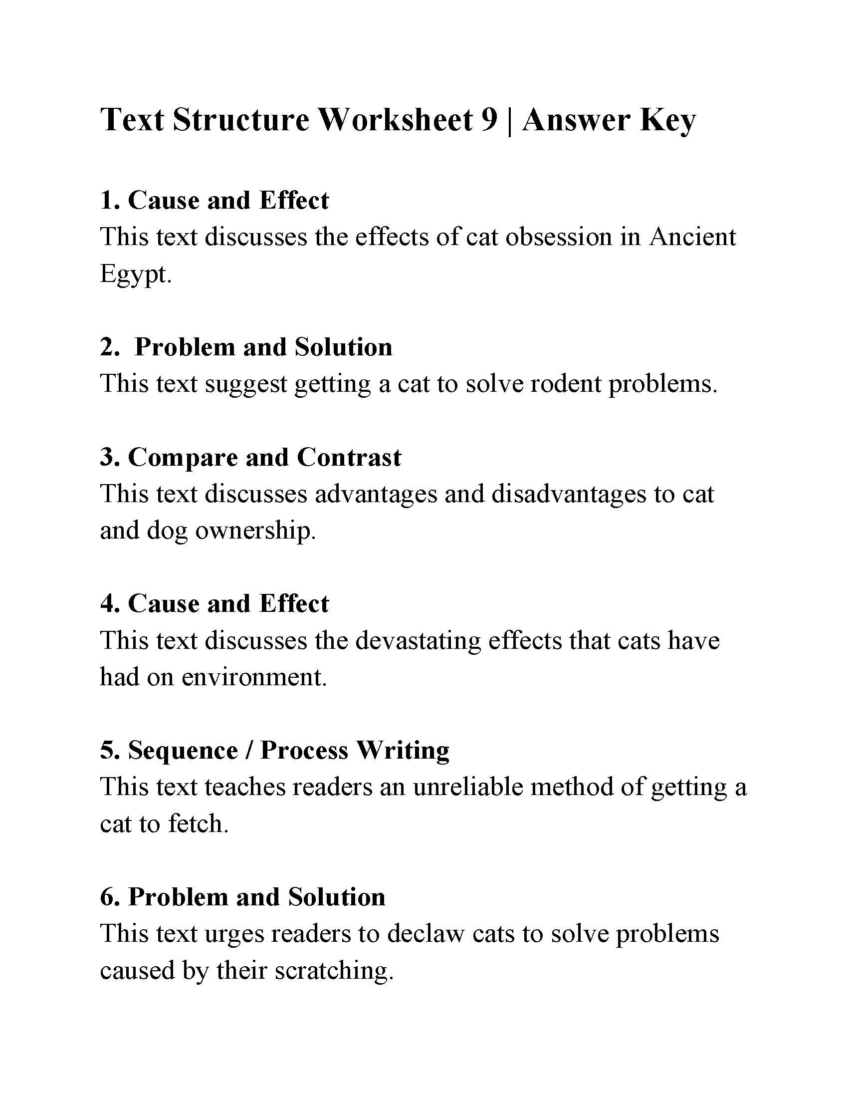 Text Structure Worksheets 4th Grade Text Structure Worksheet 9