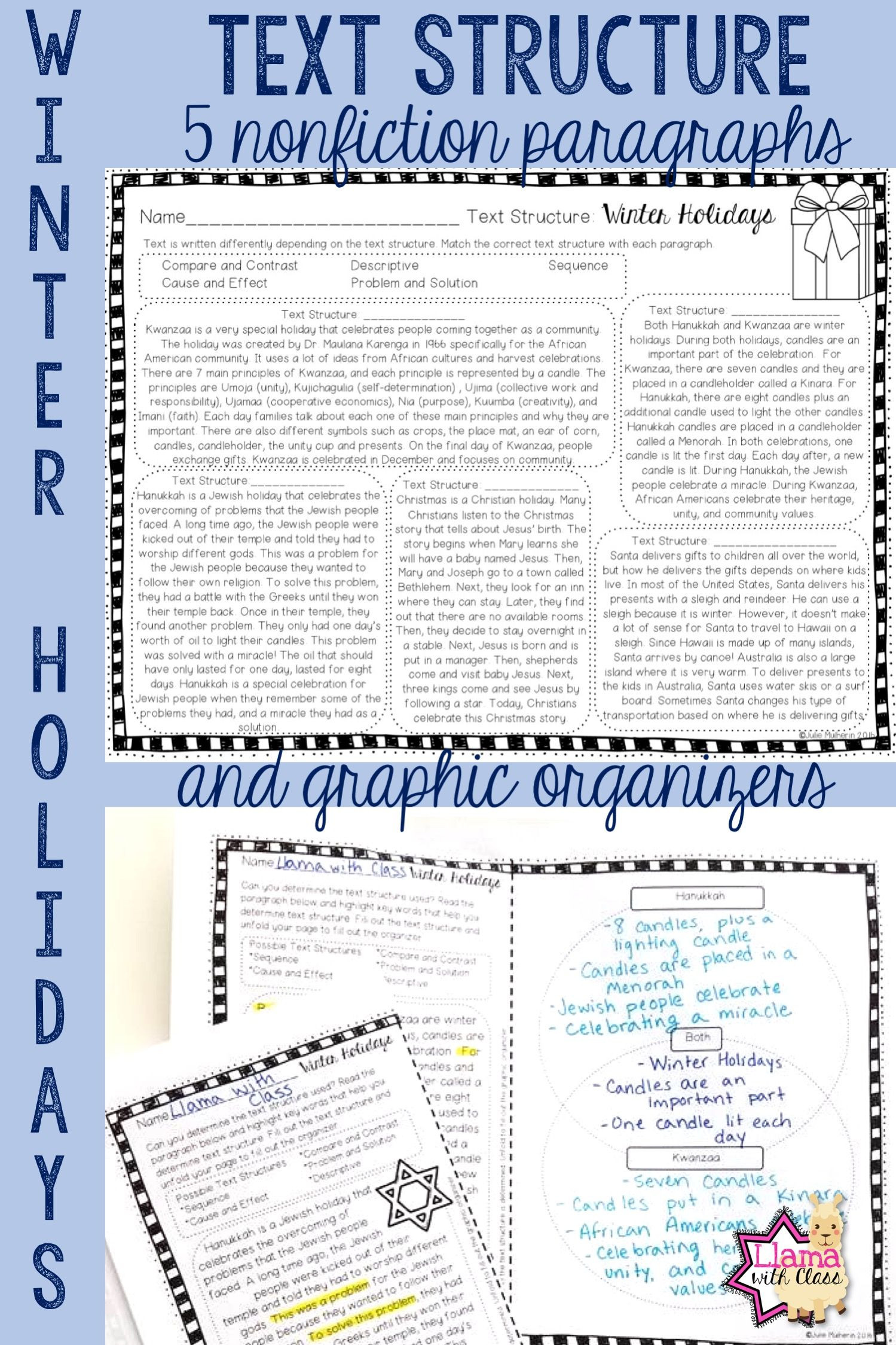Text Structure Worksheets Grade 4 Winter Holidays Text Structure Worksheets