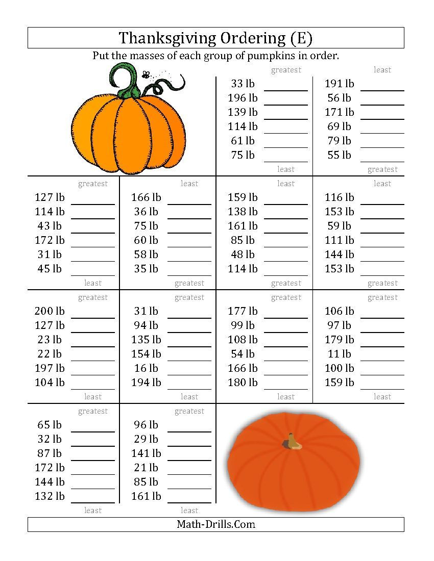 Thanksgiving Math Worksheets Middle School ordering Pumpkin Masses In Pounds E Thanksgiving Math