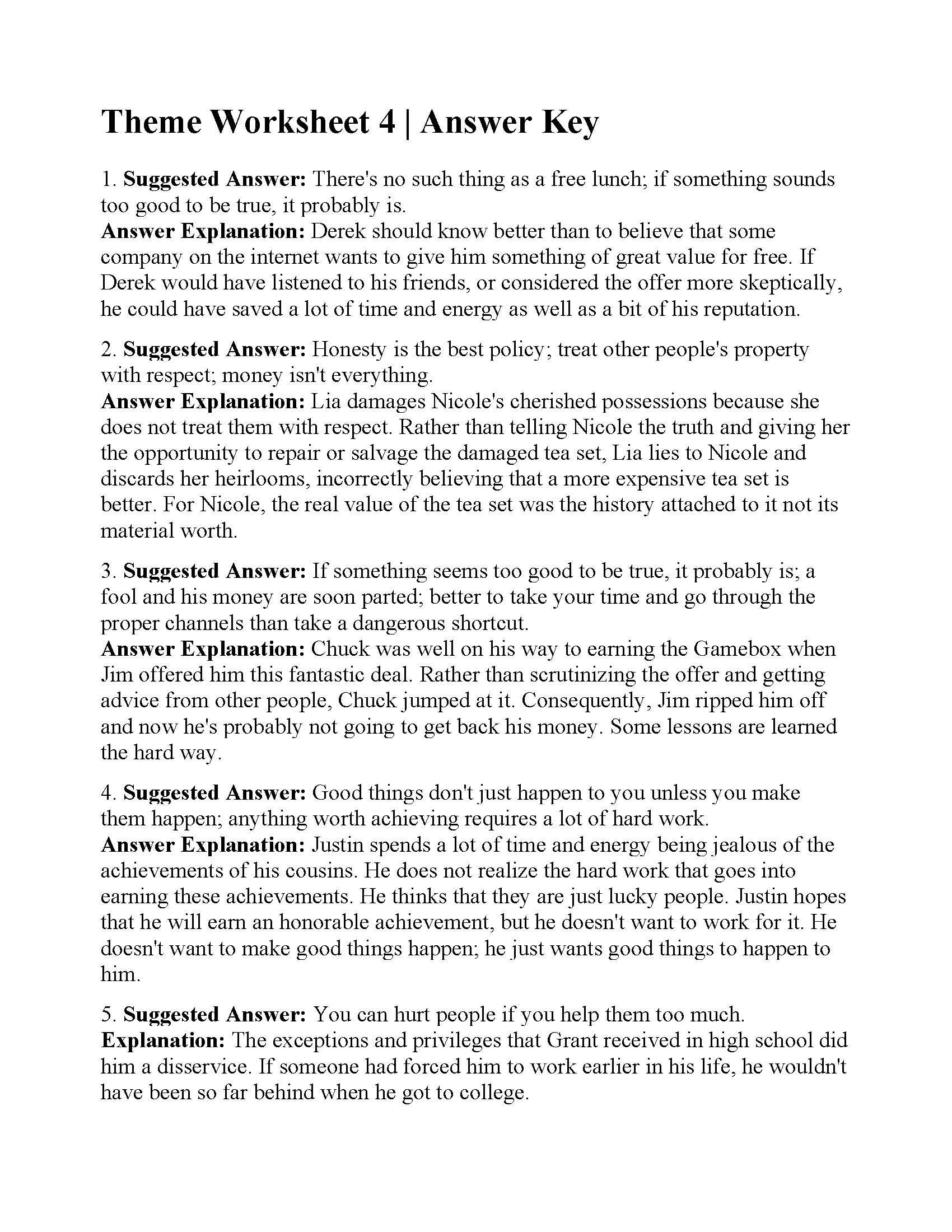 Theme Worksheets for 5th Grade This is the Answer Key for the theme Worksheet 4