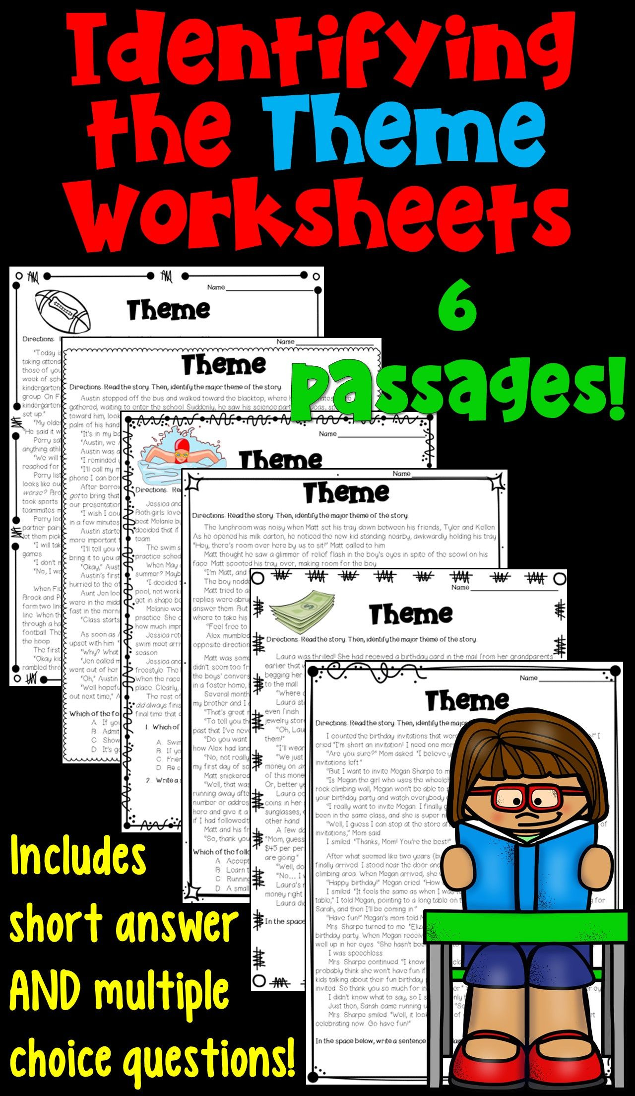 Theme Worksheets Middle School Pdf themes In Literature Worksheets Pdf and Digital