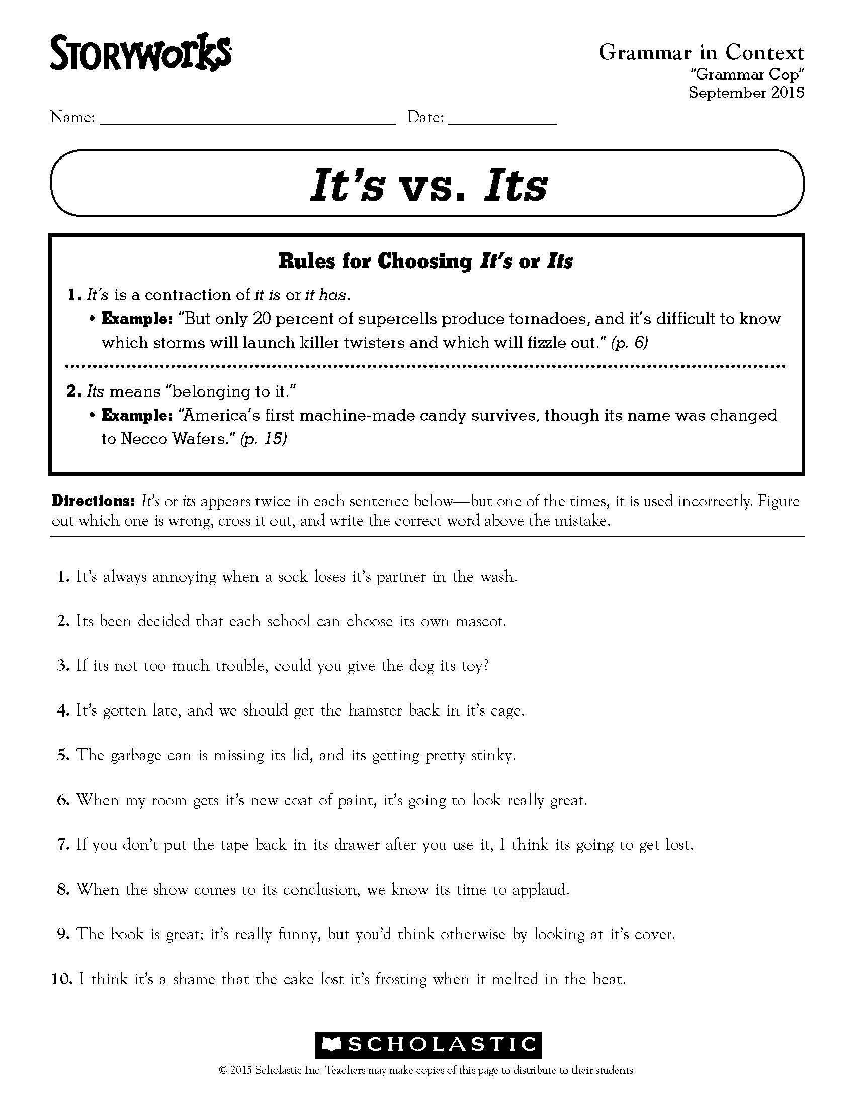 Third Grade Grammar Worksheets 32 Third Grade Grammar Worksheet In 2020