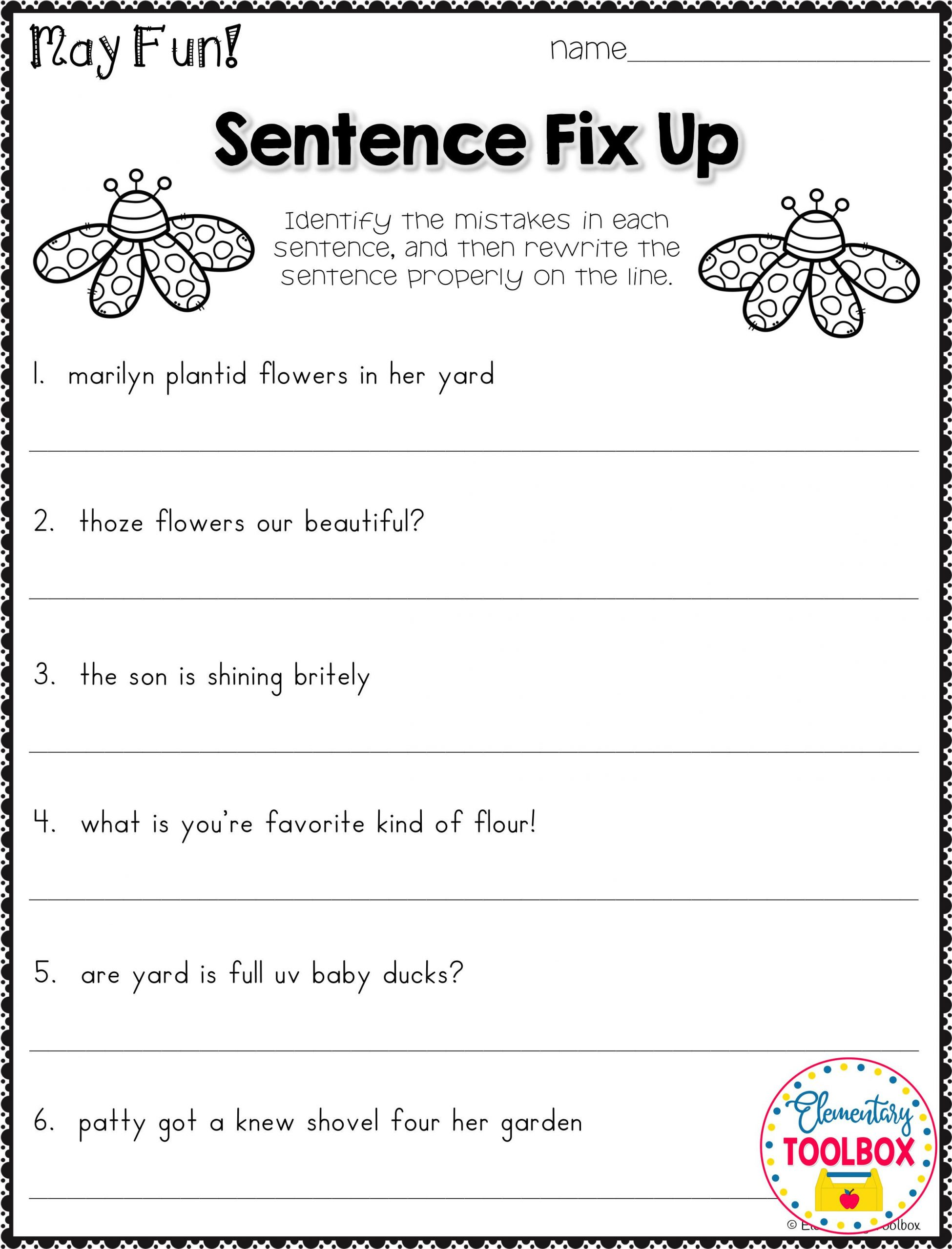 Third Grade Grammar Worksheets Grammar Worksheet for May 2nd & 3rd Grade