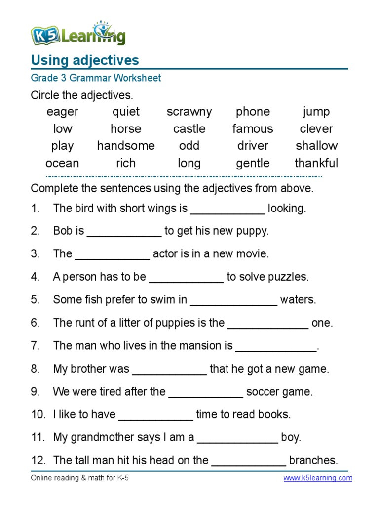 Third Grade Grammar Worksheets Grammar Worksheet Grade Adjectives Sentences Syntax English
