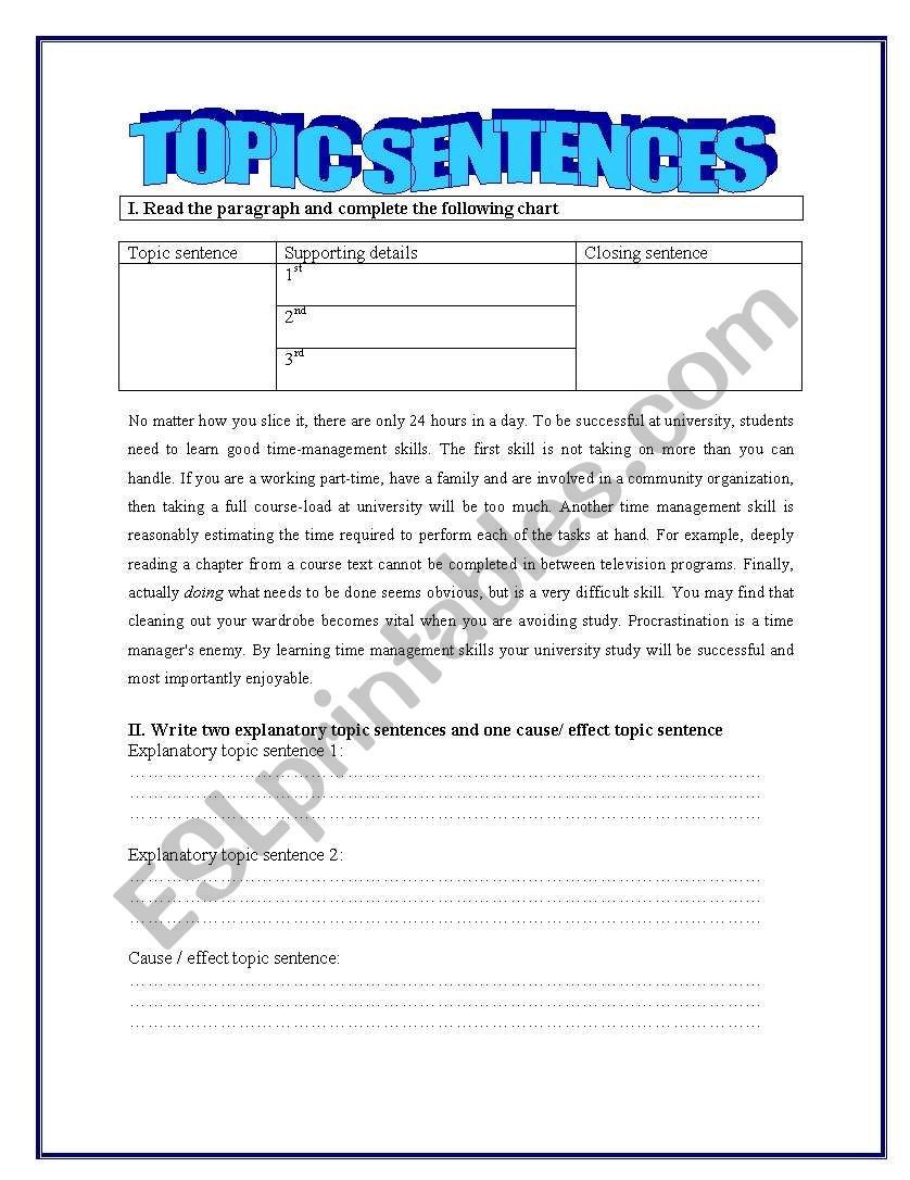 Topic Sentence Worksheets 2nd Grade topic Sentences Esl Worksheet by Yessi