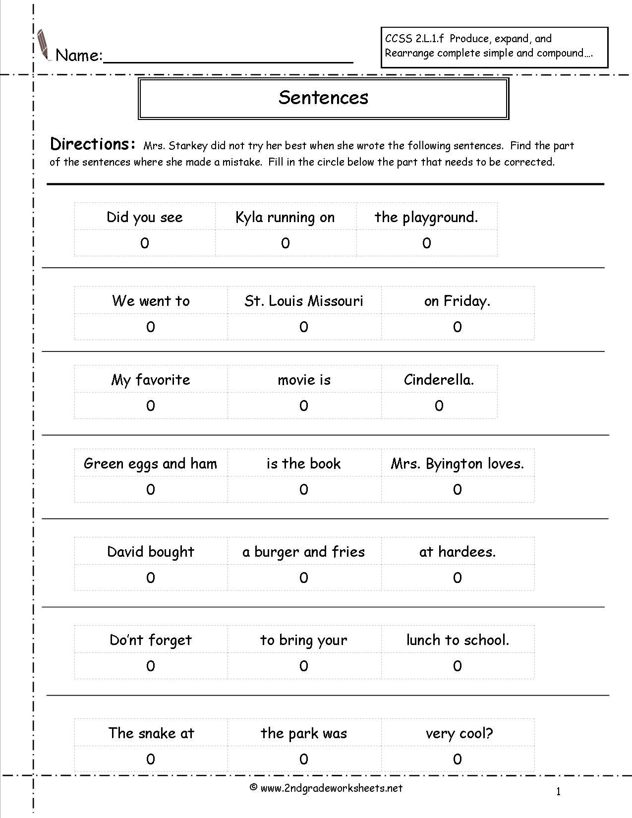 Topic Sentence Worksheets 5th Grade Correct the Sentence Worksheet
